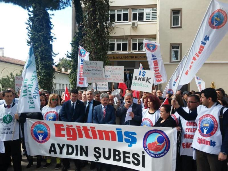 AYDIN'DA ÜYELERİMİZE VERİLEN SÜRGÜN CEZASINI PROTESTO ETTİK